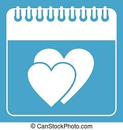 nap, esküvő, dátum, fehér, naptár, ikon