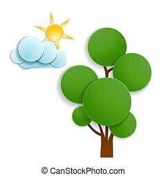 nap, fa, zöld, felhő