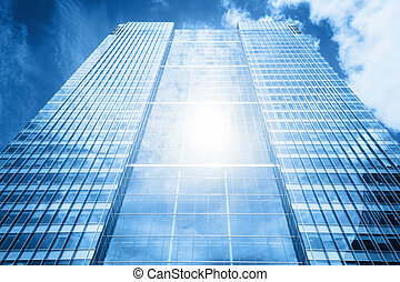 nap, gondolkodás, alatt, modern ügy, felhőkarcoló,...