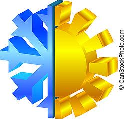 nap, &, hópehely, ikon