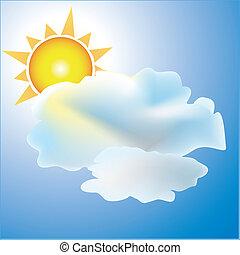 nap, időjárás, részben felhős, ikon