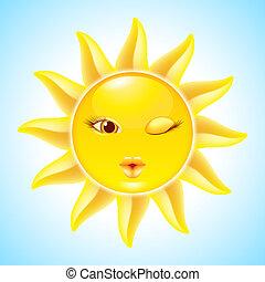 nap, karikatúra, betűk
