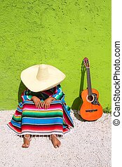 Nap lazy typical mexican sombrero man sitting