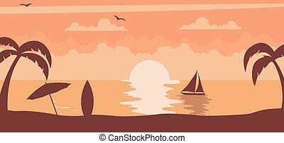 nap, napnyugta, nyár, háttér, tengerpart