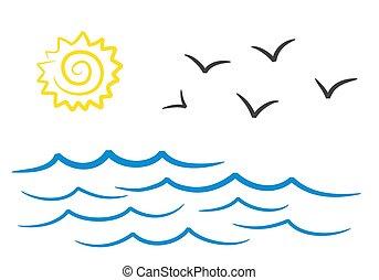 nap, sirály, ábra, kéz, vektor, tenger, rajz, tervezés, táj, részvény