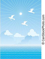 nap, táj, vektor, madarak, tenger