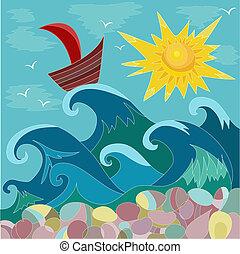nap, tenger, csónakázik