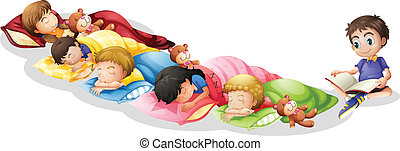 Nap time - Illustration of children taking a nap