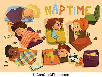 Nap time in the kindergarten. Group of multiracial girls and boys have a nip time at a colorfill nap mats. Preschool dream time. Two girls gossip during daytime sleep