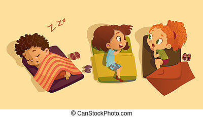 Nap time in the kindergarten. Two school girls talking to each other and gossipping in the bedroom. telling secret to each other. Daytime sleep for kids