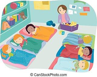 Nap Time Preschool - Illustration of Preschoolers Taking a...