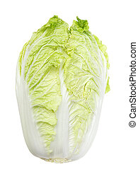 Napa Cabbage - Single fresh napa cabbage isolated on white