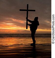 napadać, krzyż