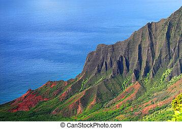 napali, ハワイ, kauai, 海岸