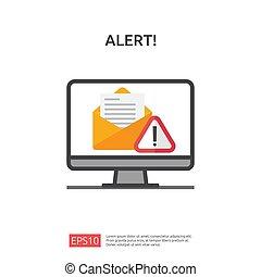 napastnik, tarcza, technologia, niebezpieczeństwo, ikona, concept., illustration., internet, kreska, wektor, uwaga, vpn., koperta, bezpieczeństwo, alarm, ochrona, ostrzeżenie, okrzyk, znak, cyber, mark., email