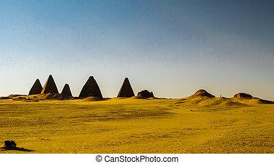 napata, sudão, panorama, karima, jebel, piramides, barkal,...