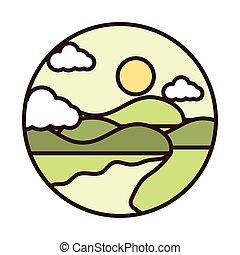 napełniać, góry, słońce, rzeka krajobraz, ikona, kreska, natura