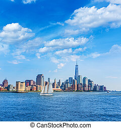napfény, bennünket, láthatár, york, új, manhattan