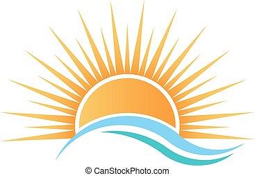 napfény, felett, víz, waves.