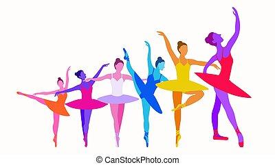 napi, előadás, táncol, vektor, munka, athlete., háttér, világos white, nő, colors., transzparens, siker, táncos, izbogis, ballerinas, hat, ábra, horizontális, növekedés, feláll, fogalom, háttér., vagy, önmaga