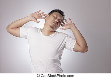 napinać, ciało, jego, zmęczony, człowiek
