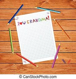 napis, dzieciaki, miłość, barwny, drewniana ręka, notatnik, babunia, pociągnięty, ty, stół, listek