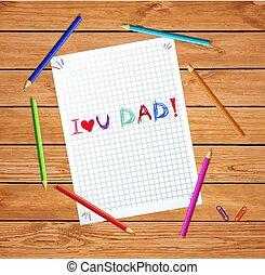 napis, dzieciaki, miłość, pisanie, dad., ty, ręka