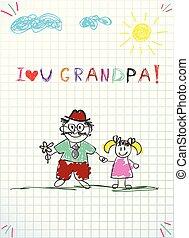 napis, miłość, wnuk, granddad, razem, dziadunio, dzierżawa wręcza, ty