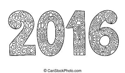 napis, odręczny, rok, nowy, 2016