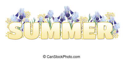 """napis, słowo, nachylenie, żółty, tło., biały, """"summer""""."""