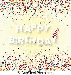 napis, wektor, banner., ilustracja, tło., urodziny, confetti, biały, święto, szczęśliwy