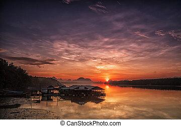 napkelte, alatt, egy, kicsi, halászat, village.