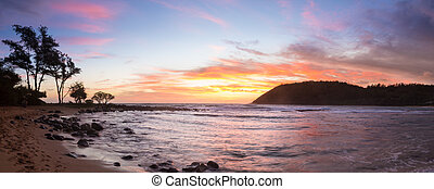 napkelte, -ban, moloa'a, tengerpart, kauai, hawaii