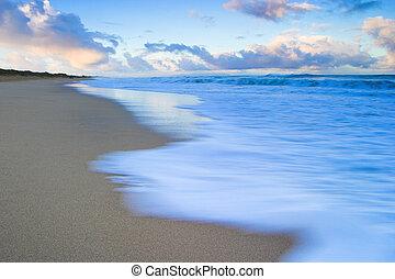 napkelte, -ban, polihale, tengerpart, képben látható, kauai, hawaii