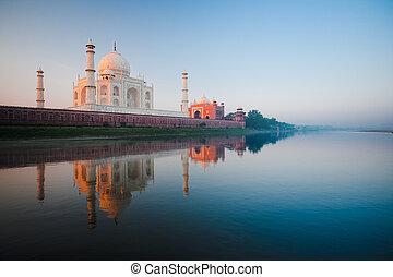 napkelte, -ban, taj mahal, képben látható, jamuna, folyó