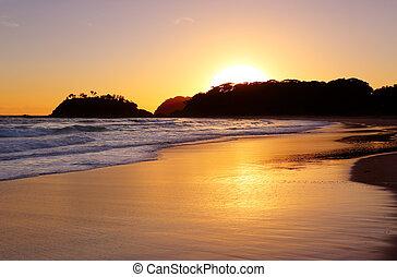 napkelte, dermedt, tengerpart, nsw, ausztrália