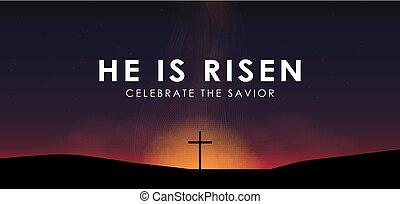 napkelte, emelkedett, vektor, kereszt, szöveg, keresztény, húsvét, megváltó, ábra, színhely, ő, drámai