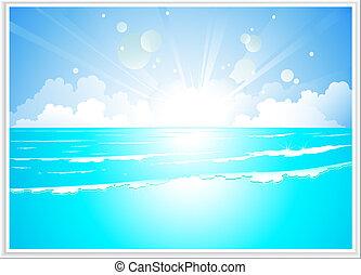 napkelte, fényes, tenger, táj