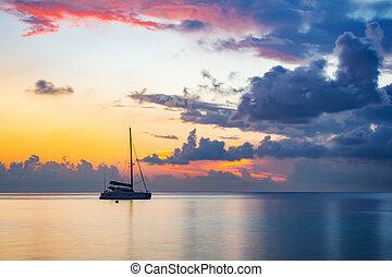 napkelte, felett, óceán