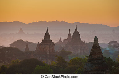 napkelte, felett, ősi, bagan, myanmar