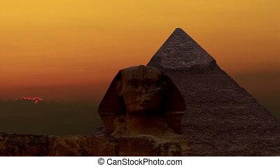 napkelte, felett, a, piramis, közül, cheops