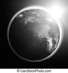 napkelte, felett, dél-amerika