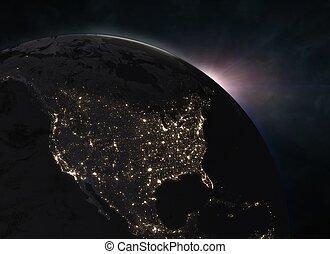 napkelte, felett, földdel feltölt, -, észak-amerika