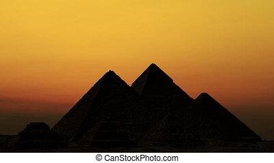 napkelte, felett, pyramids., giza, egyiptom