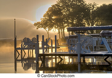 napkelte, felett, tó, okoboji