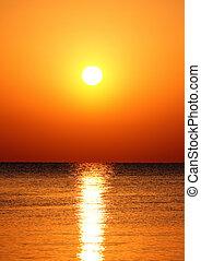 napkelte, felett, tenger