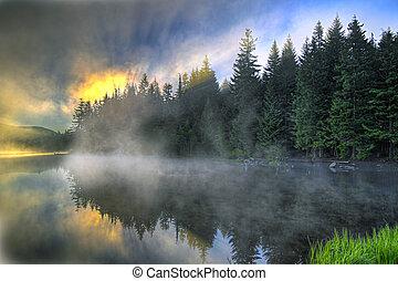 napkelte, felett, trillium, oregon, tó