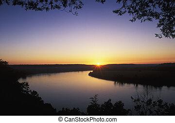 napkelte, képben látható, a, ohio