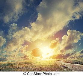 napkelte, képben látható, egy, mező