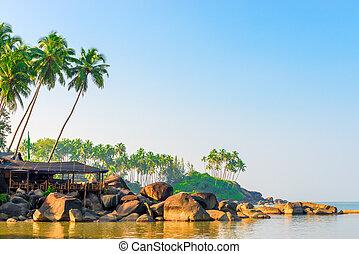 napkelte, képben látható, egy, tropical sziget, alatt, a, idegenforgalom, évad